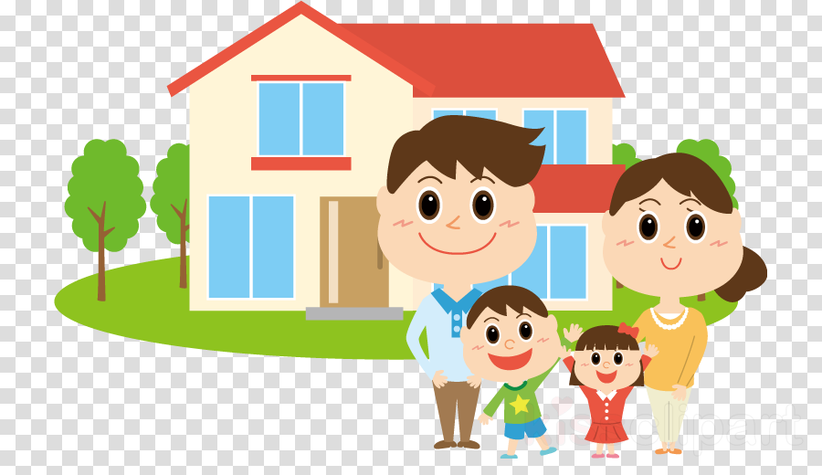 cartoon child sharing play house clipart.