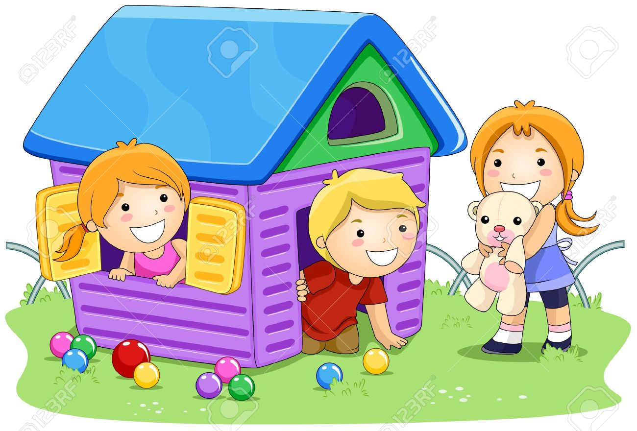 Kids Playing House Clipart.