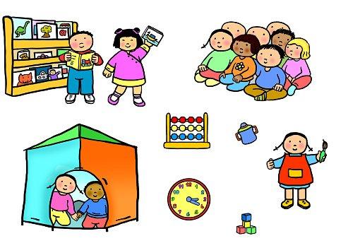 Playgroup preschool nursery activities illustration Clipart.