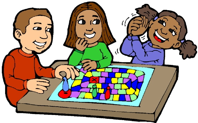 Family Playing Board Games Clipart.