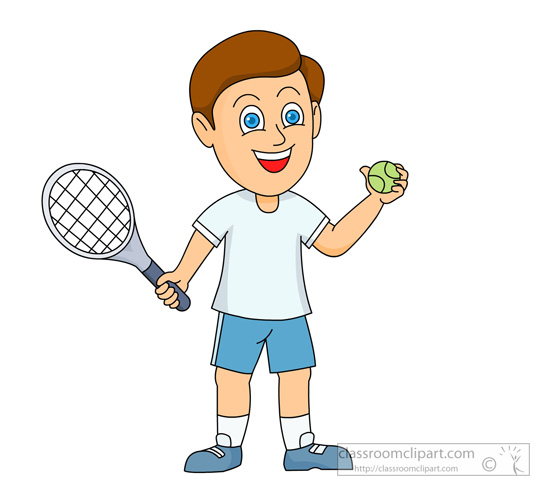 Boy Playing Tennis Clipart.