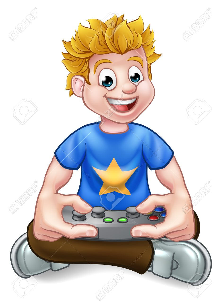 A cartoon gamer having fun playing video games.