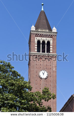 Usc Clock Tower Rises Above Trees Stock Photo 112500638.