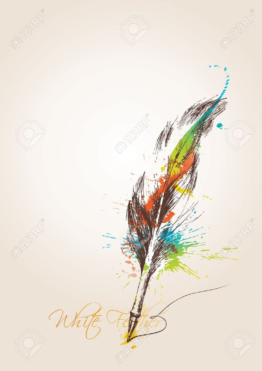 Pen Sous La Forme D'une Plume De L'oiseau Sur Le Fond Beige.