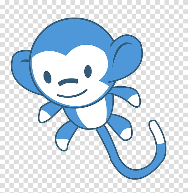 Monkey Plushie, blue and white monkey character transparent.