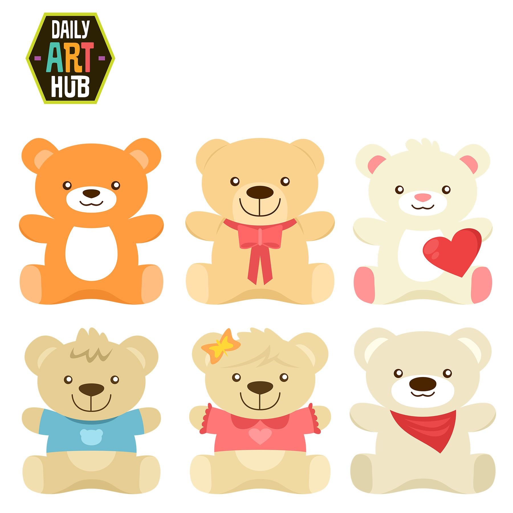 Cute Bear Plushies Clip Art Set.