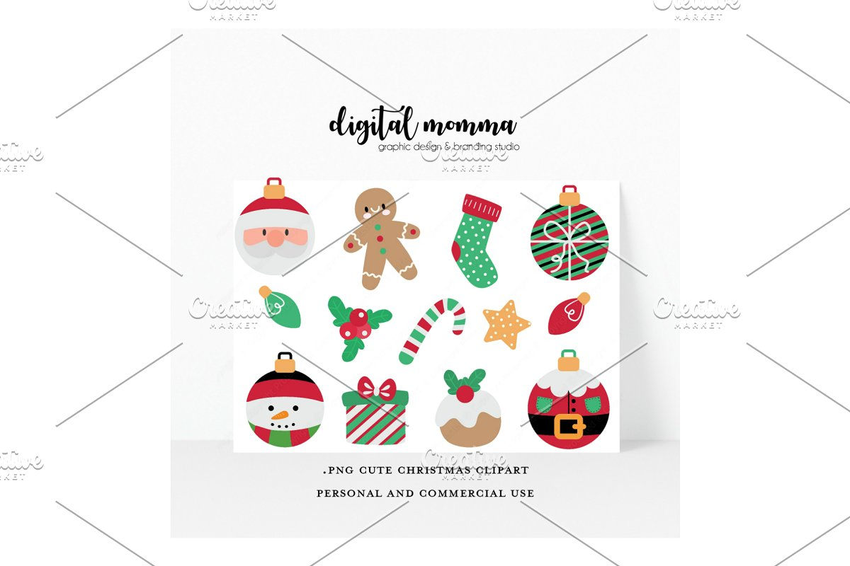 Cute Christmas Clipart, PNG.