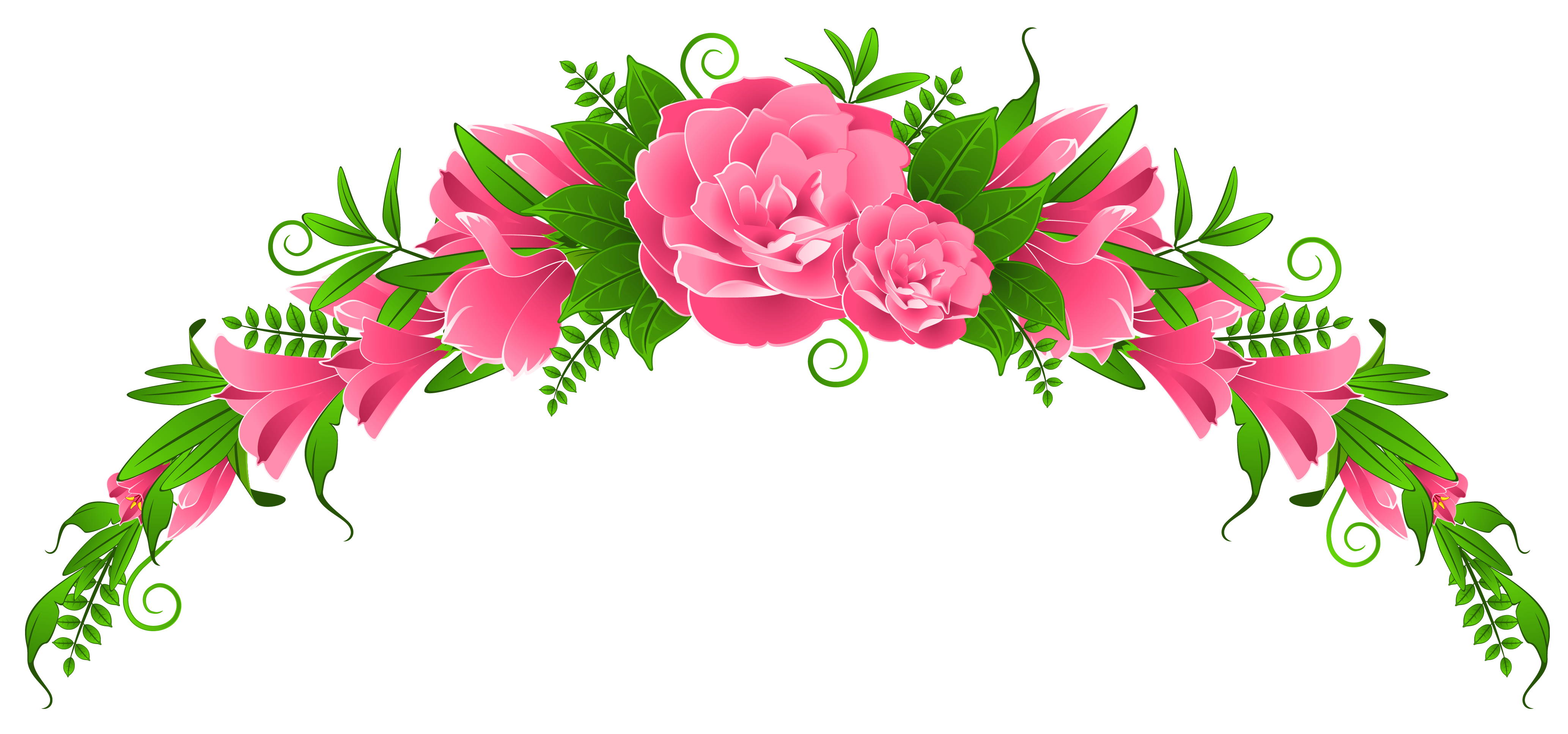 Pink Flowers and Roses Element PNG Clipart.