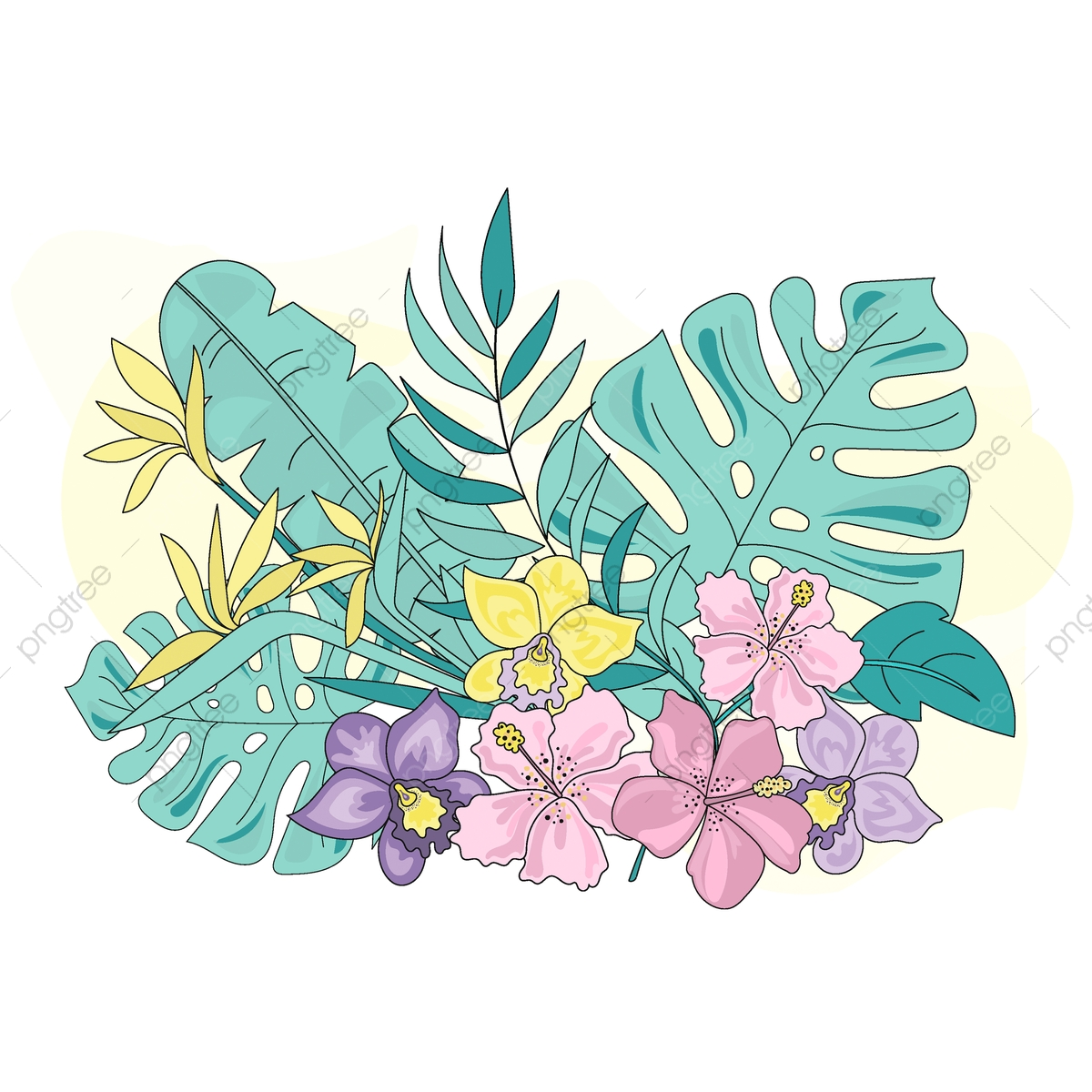 PNG Clipart Tropical Flowers Sea Travel Color Vector Unicorn.
