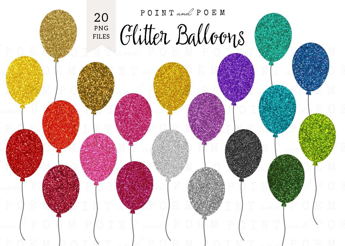 Glitter Balloon Clipart.