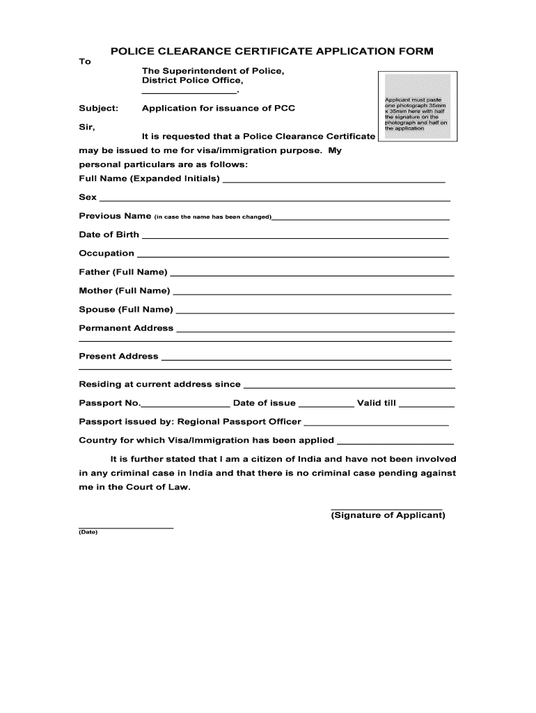 Png police clearance application form Transparent pictures.