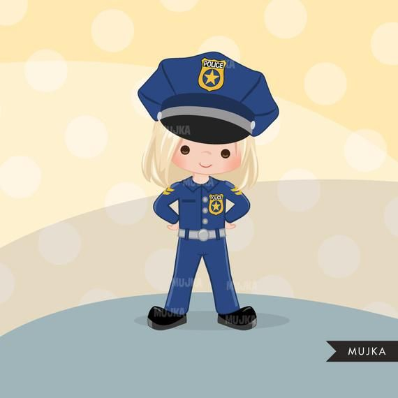 Cops, police officer clipart, Little girl clipart graphics.