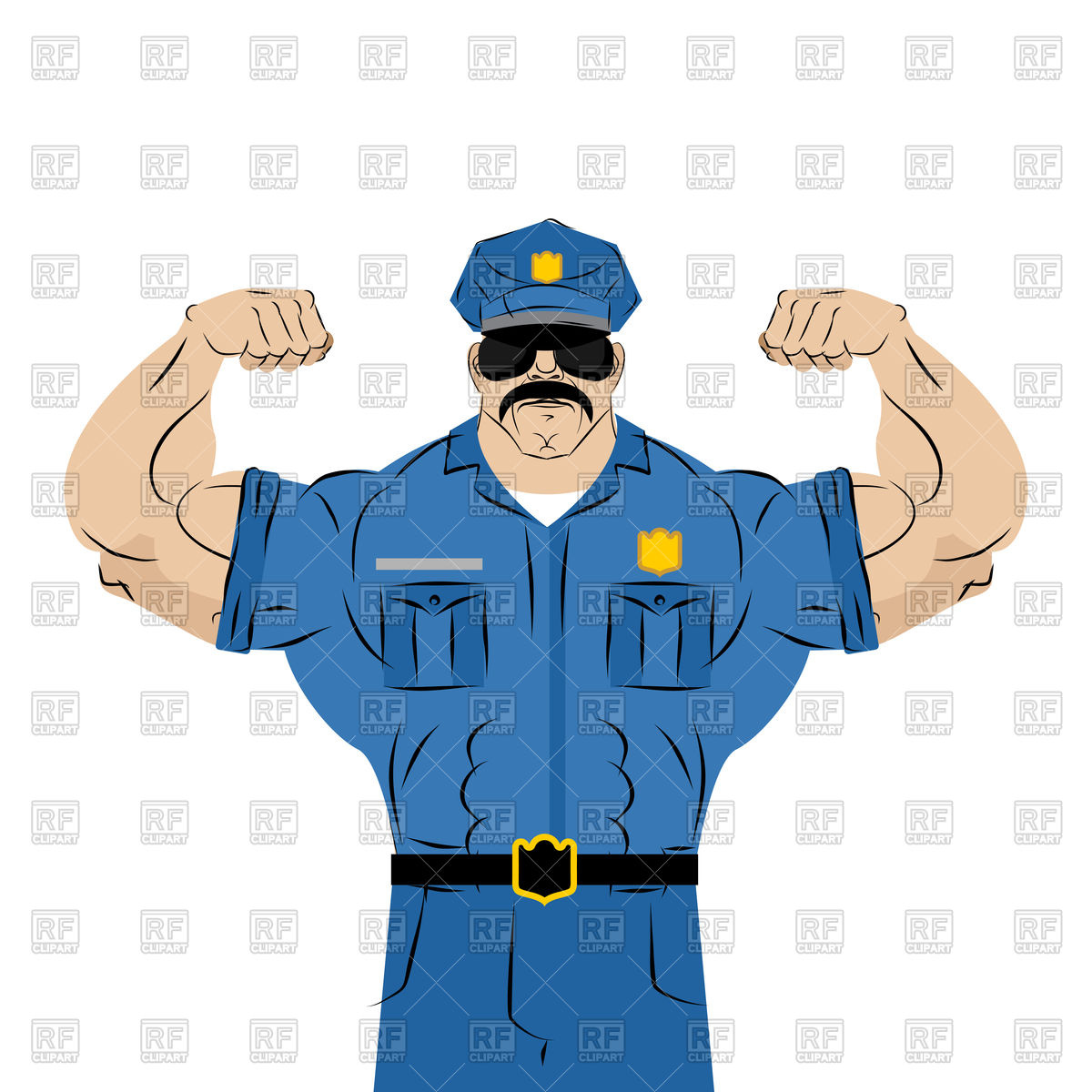 Strong police officer Stock Vector Image.