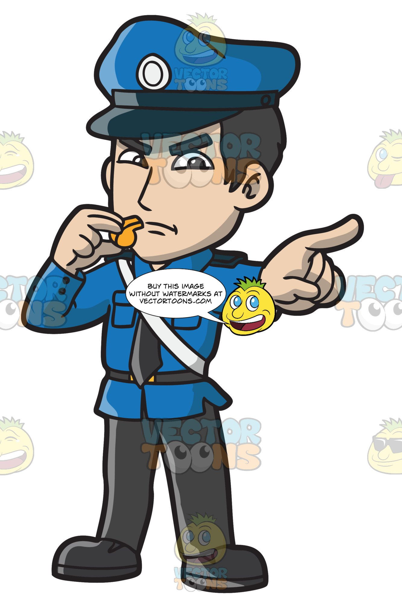 An Angry Police Officer With A Whistle.