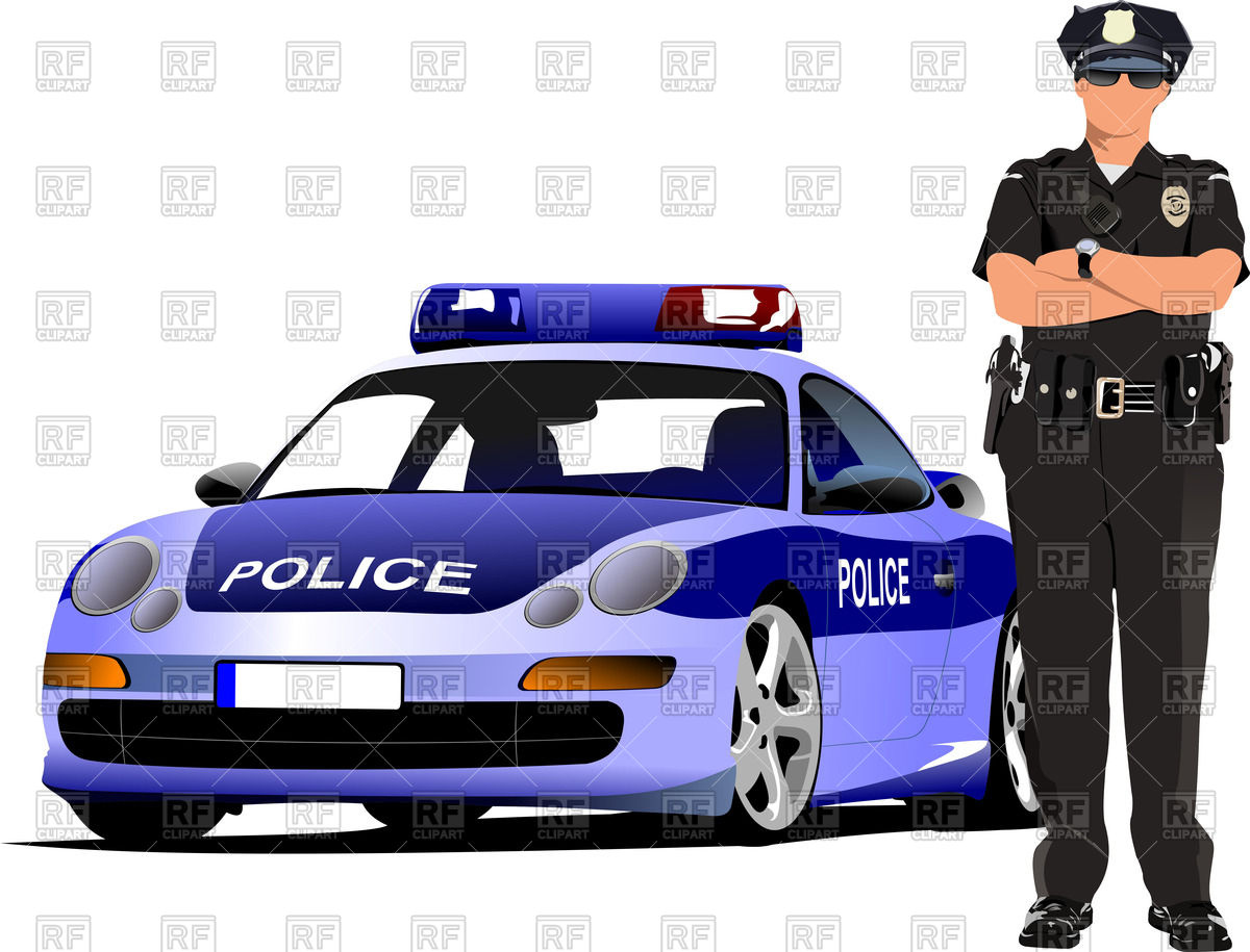 Police officer with hands crossed on chest stands near police car Stock  Vector Image.