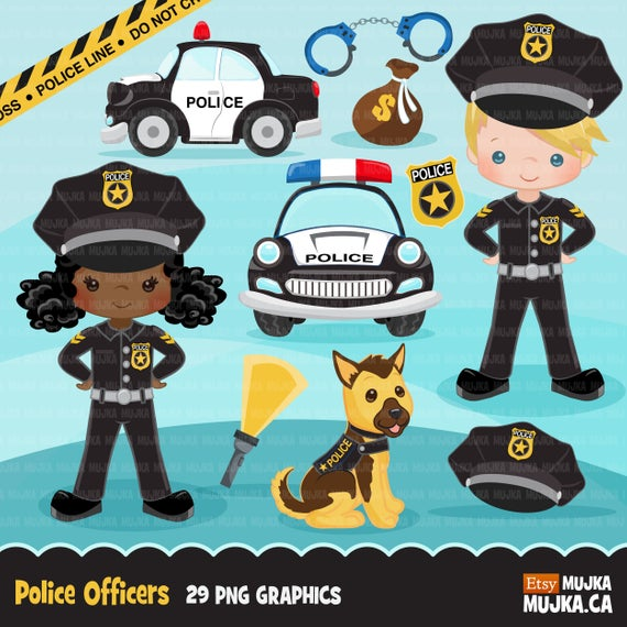 Cops, police officer clipart, boy girl , police car, K9 police dog, police  line, commercial use clip art, profession graphics.