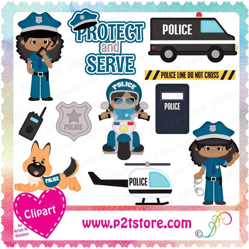 Clipart Police Officer Girls DS.
