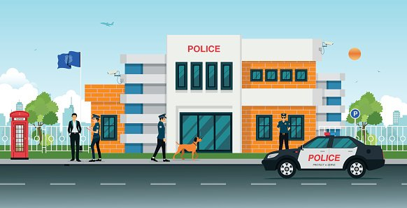 police station Clipart Image.