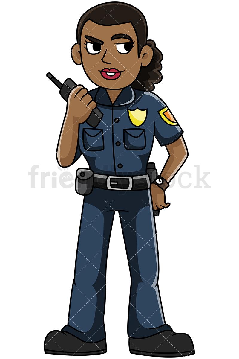 Black Female Police Officer Talking On The Radio.