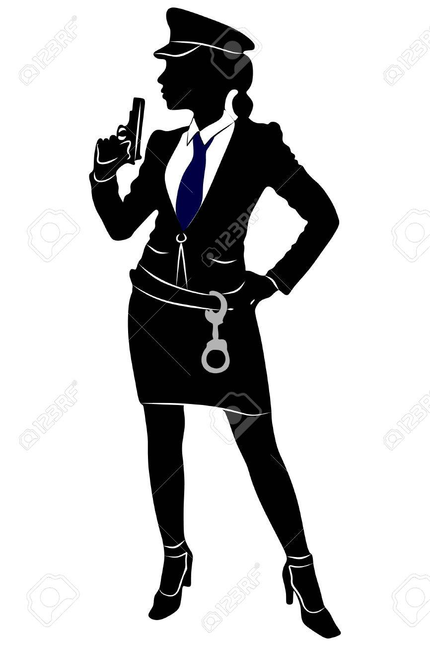 woman police officer with gun.