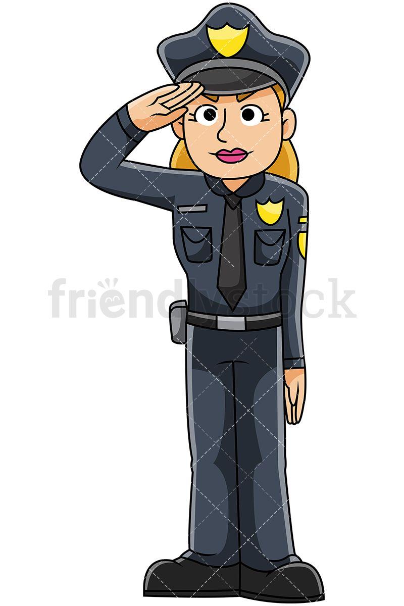 Female Police Officer Saluting.