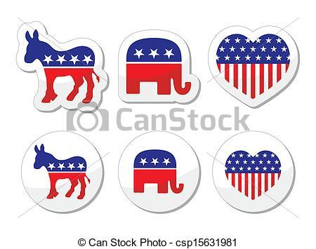 USA political parties symbols.