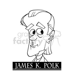 james k polk black white clipart. Royalty.