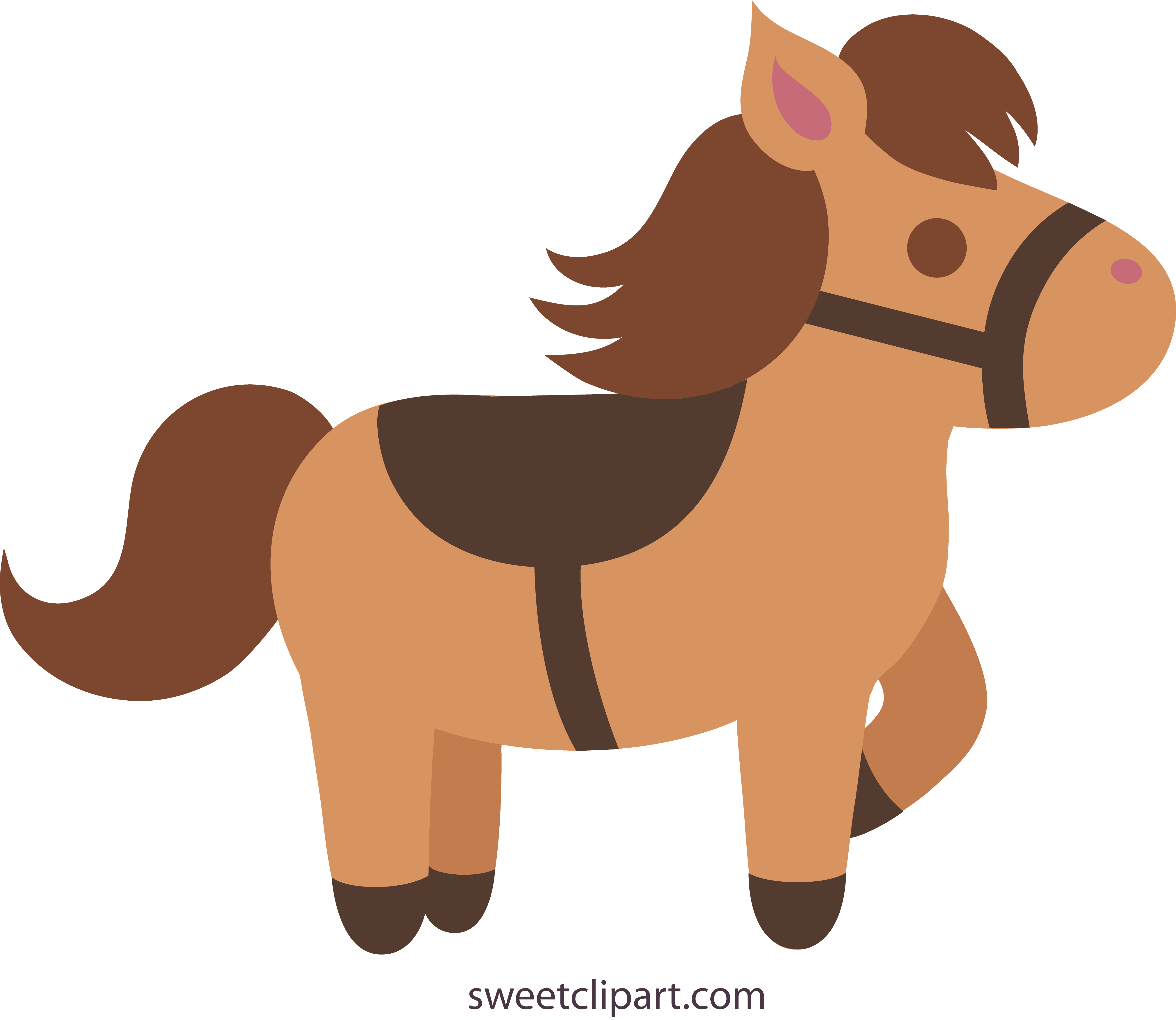 Cute Brown Pony With Saddle.
