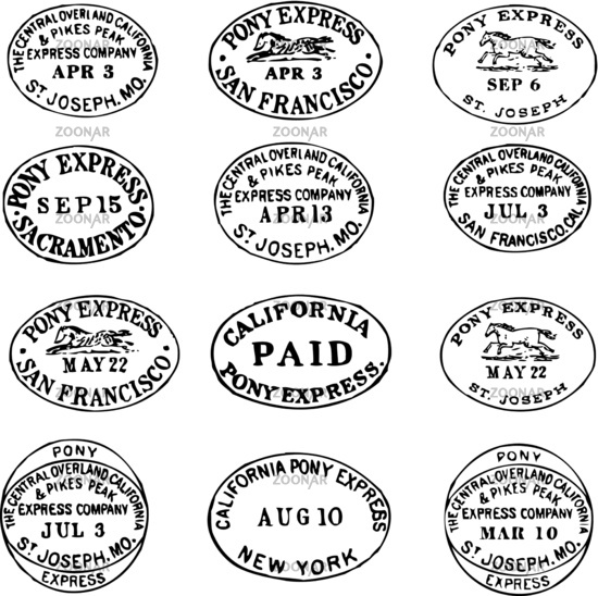 Photo Vector Clipart Pony Express Stamps and Labels Image.
