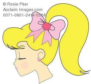 Clipart Illustration of a 1950's Girl With a Blond Ponytail.
