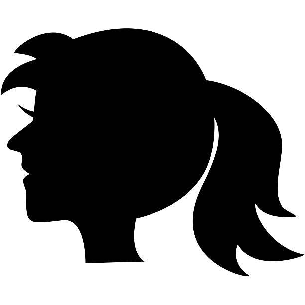 Portrait, Black Silhouette Vector Art Illustration.