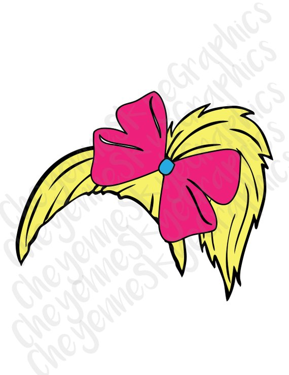 JoJo Siwa inspired side ponytail with bow .svg, .png, and .dxf cut.