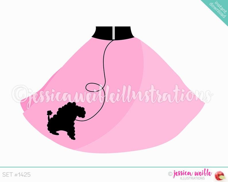 Instant Download Cute Pink Poodle Skirt Digital Clipart, Poodle Skirt Clip  art, Retro Skirt, Pink Poodle Skirt Illustration, #1425.