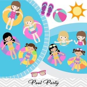 Girls Pool Party Clip Art, Girls Swim Party Clipart, Summer.