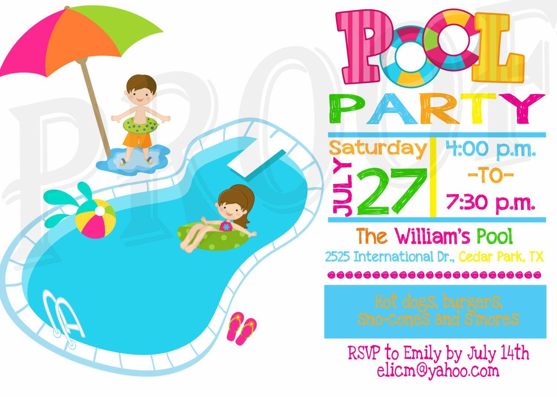 Pool Party invite.