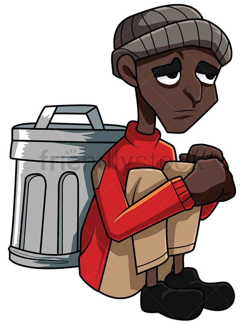 Poor Black Man Sitting Against A Trash Bin.