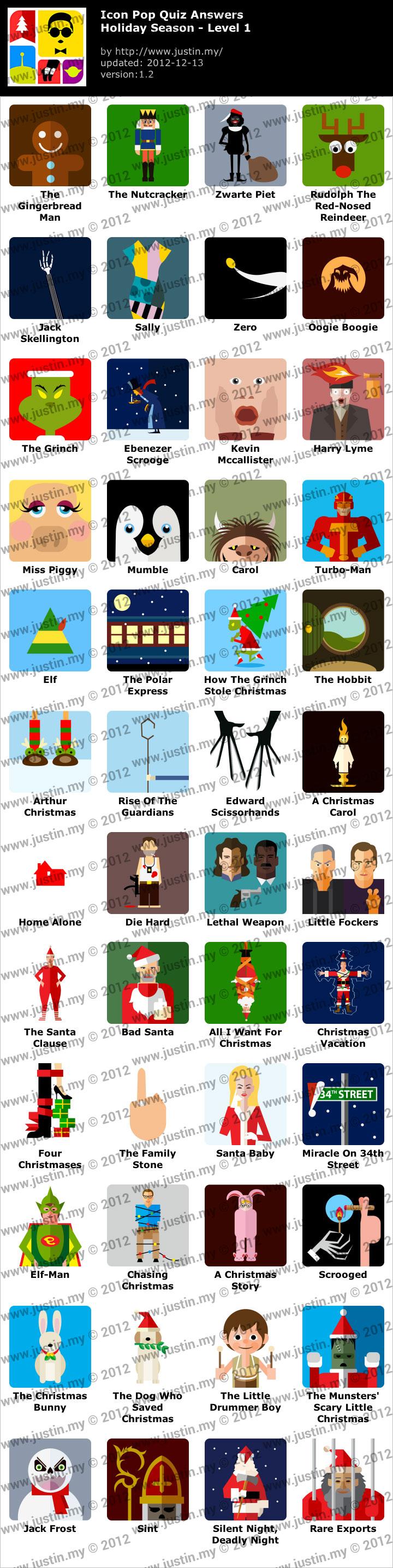 Icon Pop Quiz Holiday Season Walkthrough.