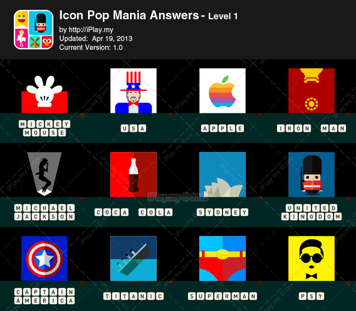 Icon Pop Mania Answers.