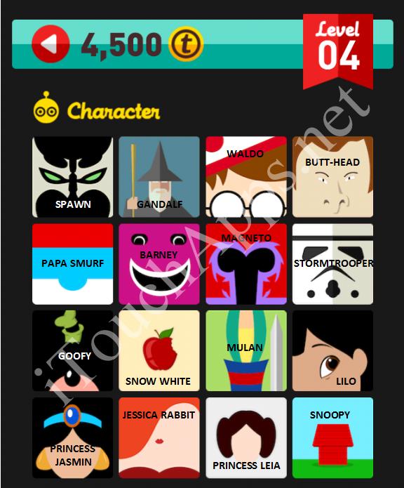 Clipart Pop Quiz Characters Level 4.