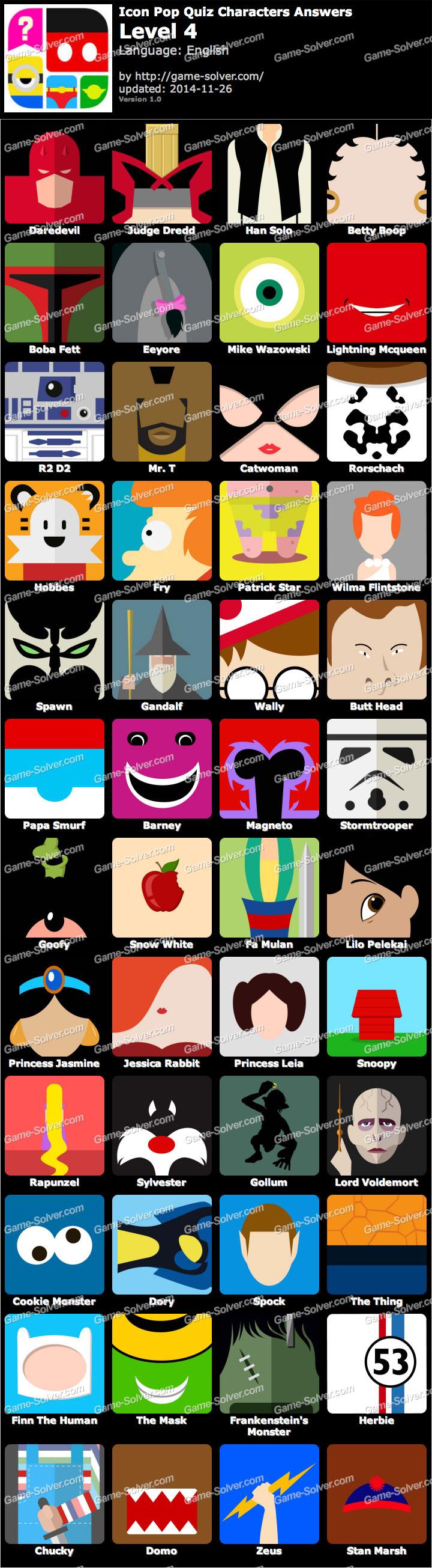 Icon Pop Quiz Characters Level 4.