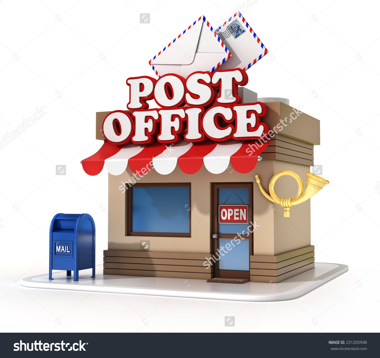 Showing post & media for Cartoon post office building clip art.