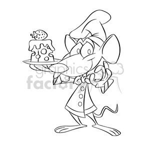 black and white cartoon mouse holding plate with cheese postre negro  clipart. Royalty.