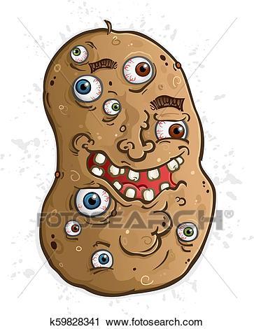Potato Cartoon Character Covered in Eyeballs Clipart.