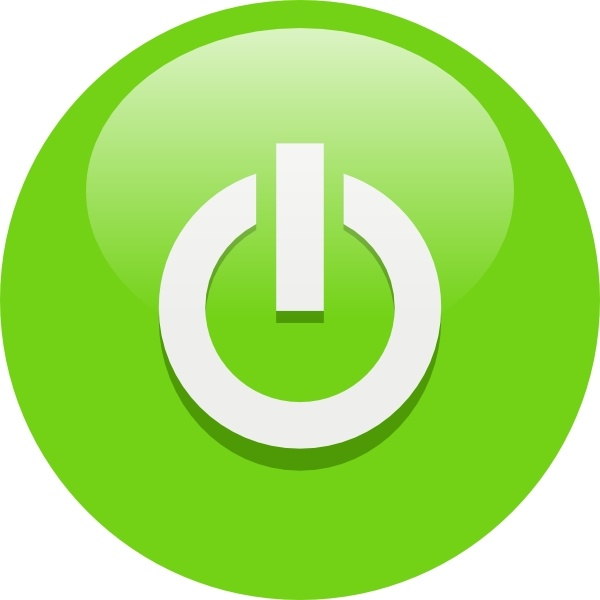 Green Power Button clip art Free vector in Open office drawing svg.