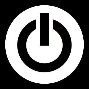 Stock Illustration Power Button Logo Design Minimalistic Line Art.