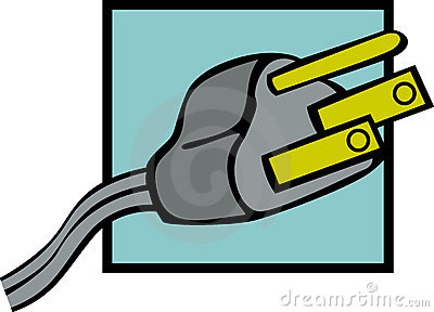 Grounded Power Plug Vector Illustration Stock Photos.