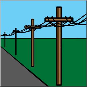 Clip Art: Electricity: Power Lines Color I abcteach.com.