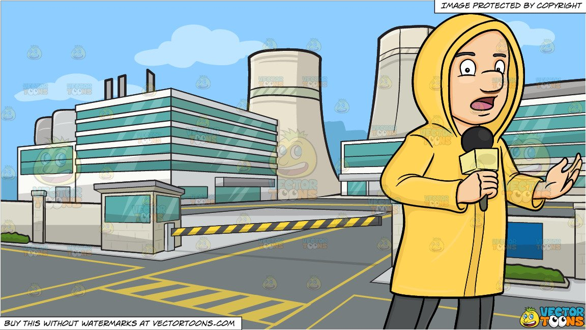 A Broadcaster In Raincoat Reporting News From The Field Despite The Bad  Weather and A Nuclear Power Plant Background.