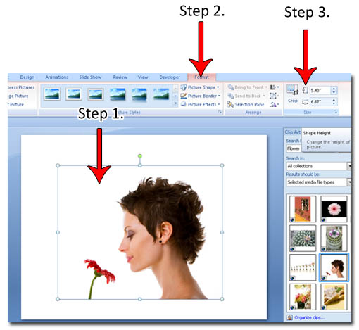 Resizing a PowerPoint Clip Art.