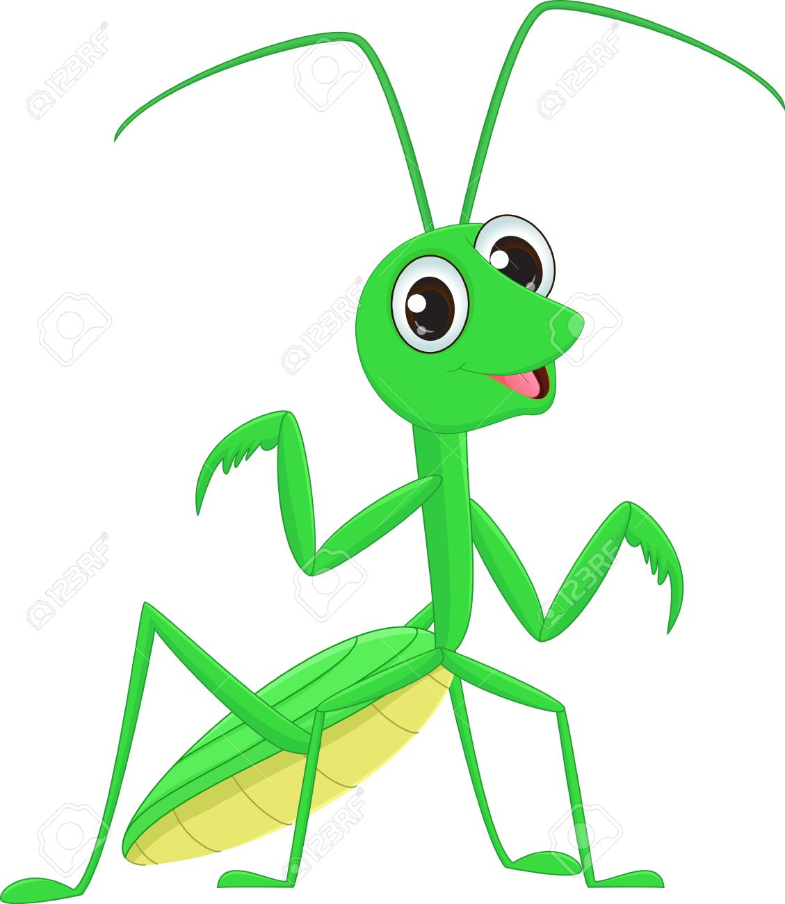 cute Praying mantis grasshopper cartoon.